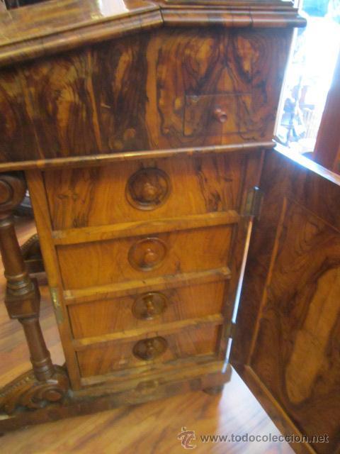 Antigüedades: Mueble escritorio Davenport S. XIX en madera raíz de olivo con cajones laterales, secante y tintero - Foto 18 - 45485876