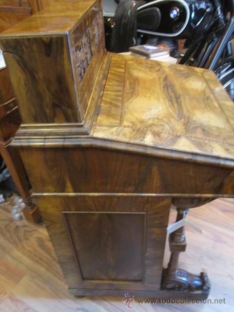 Antigüedades: Mueble escritorio Davenport S. XIX en madera raíz de olivo con cajones laterales, secante y tintero - Foto 22 - 45485876