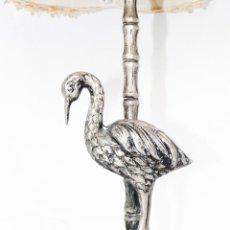 Antigüedades: PRECIOSA LAMPARA ANTIGUA GARZA O SIMILAR EN ALPACA AUTENTICA. Lote 45492562