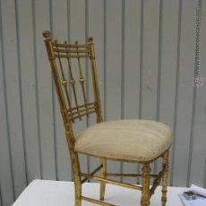 Antigüedades - silla de madera antigua tapizada perfectamente. - 45565764