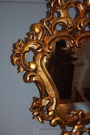 Antigüedades: Antigua Pareja de Espejos - Cornucopias - Madera Tallada - Dorada con Pan de Oro - S. XIX - Foto 2 - 45569226