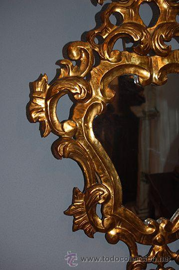 Antigüedades: Antigua Pareja de Espejos - Cornucopias - Madera Tallada - Dorada con Pan de Oro - S. XIX - Foto 4 - 45569226