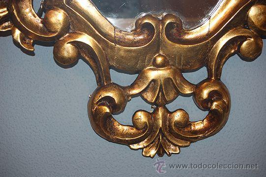Antigüedades: Antigua Pareja de Espejos - Cornucopias - Madera Tallada - Dorada con Pan de Oro - S. XIX - Foto 8 - 45569226