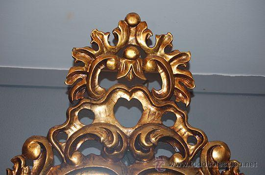 Antigüedades: Antigua Pareja de Espejos - Cornucopias - Madera Tallada - Dorada con Pan de Oro - S. XIX - Foto 9 - 45569226
