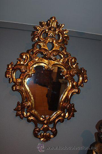 Antigüedades: Antigua Pareja de Espejos - Cornucopias - Madera Tallada - Dorada con Pan de Oro - S. XIX - Foto 10 - 45569226