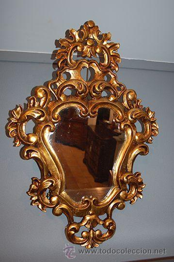 Antigüedades: Antigua Pareja de Espejos - Cornucopias - Madera Tallada - Dorada con Pan de Oro - S. XIX - Foto 11 - 45569226