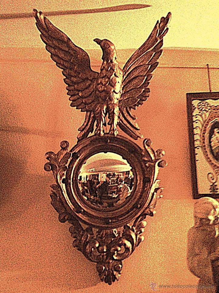 ANTIGUO ESPEJO CORNUCOPIA TALLA ÁGUILA REAL OVAL BELLAMENTE TALLADO / EN MADERA DORADO PAN DE ORO (Antigüedades - Muebles Antiguos - Cornucopias Antiguas)