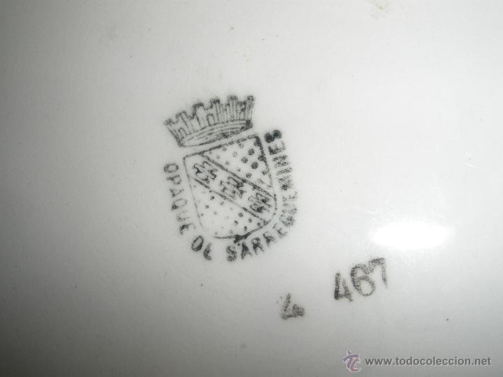 Antigüedades: ANTIGUA JARRA PORCELANA OPAQUE DE SARREGUEMINES FRANCIA sello en la base - Foto 5 - 45577299