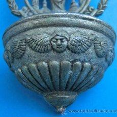 Antigüedades: PEQUEÑA PILA DE METAL BENDITERA. VIRGEN DEL PILAR.. Lote 45579870