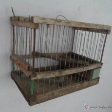 Antigüedades: JAULA ANTIGUA DE MADERA Y METAL. Lote 45581872