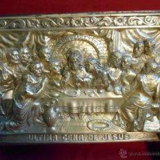 Antigüedades: ANTIGUA CHAPA EN RELIEVE -LA ULTIMA CENA DE JESUS-COBRE PLATEADO-. Lote 45592789