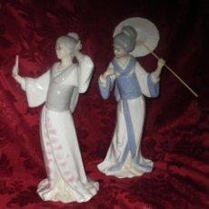 Antiquités: DOS GRANDES GEISHAS, 2 JAPONESAS FIGURA DE PORCELANA. 35 CM.. Lote 45603111