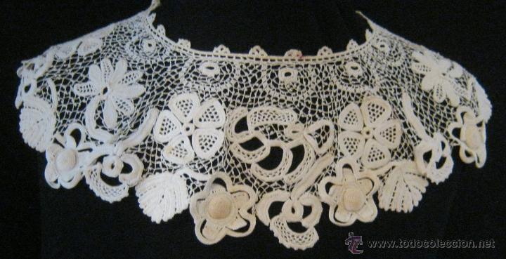 ANTIGUA CAPELINA ENCAJE DE IRLANDA S. XIX (Antigüedades - Moda - Encajes)