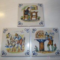 Antigüedades: BBB LOTE DE 3 AZULEJOS VALENCIANOS ZIRCONIO AZULEJO VALENCIANO VILLARREAL CASTELLON NUMERADOS. Lote 45617968