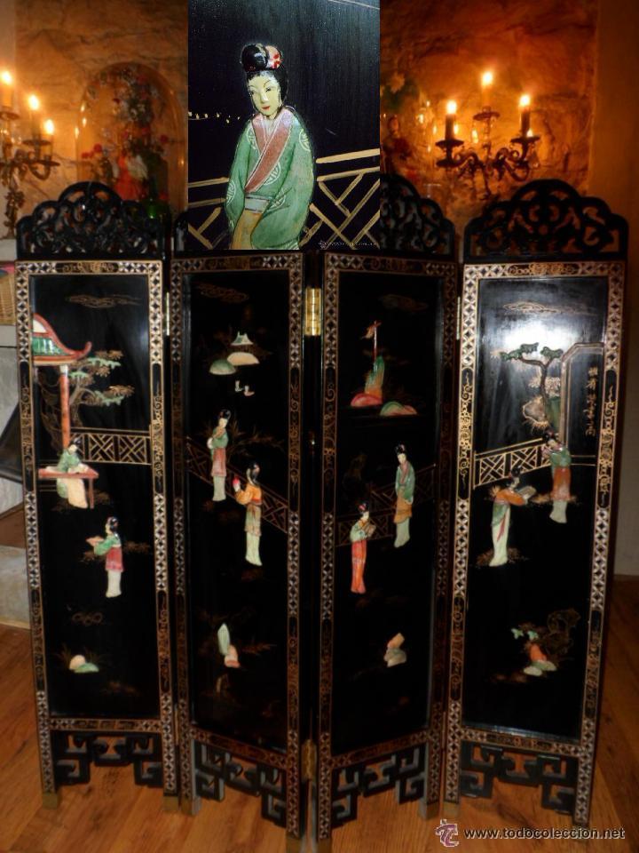 Biombo chino lacado en negro estilo coramandel comprar en todocoleccion 45268103 - Biombos chinos antiguos ...