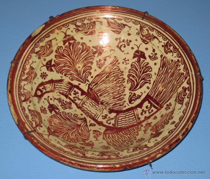 Antigüedades: GRAN PLATO ETAPA DE DECADENCIA DE REFLEJO METALICO DE MANISES SIGLO XVIII. MOTIVO EL PARDALOT - Foto 4 - 45623262