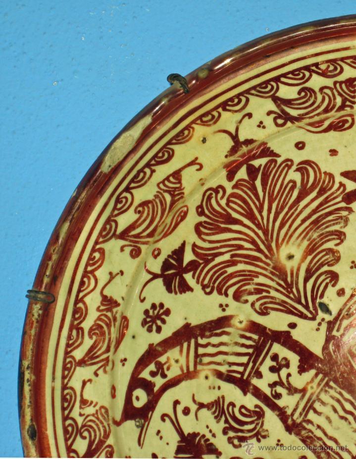 Antigüedades: GRAN PLATO ETAPA DE DECADENCIA DE REFLEJO METALICO DE MANISES SIGLO XVIII. MOTIVO EL PARDALOT - Foto 5 - 45623262