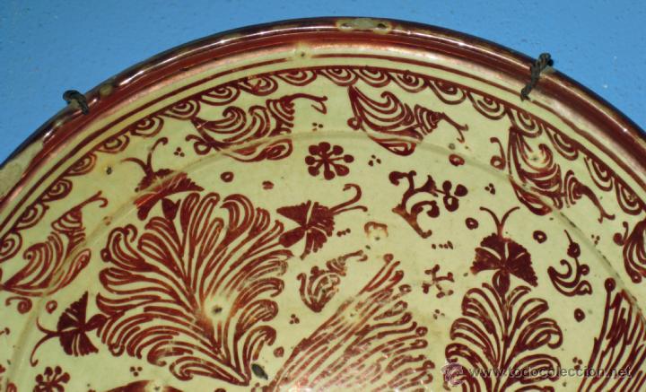 Antigüedades: GRAN PLATO ETAPA DE DECADENCIA DE REFLEJO METALICO DE MANISES SIGLO XVIII. MOTIVO EL PARDALOT - Foto 6 - 45623262
