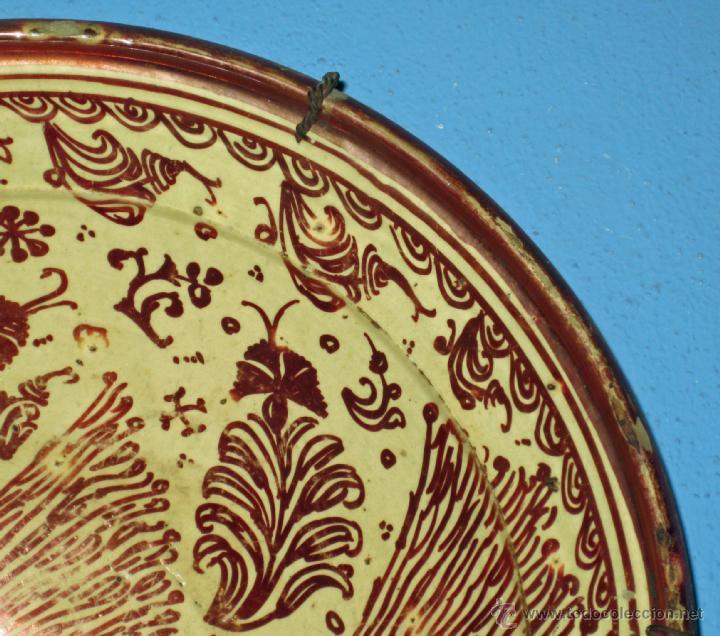 Antigüedades: GRAN PLATO ETAPA DE DECADENCIA DE REFLEJO METALICO DE MANISES SIGLO XVIII. MOTIVO EL PARDALOT - Foto 7 - 45623262