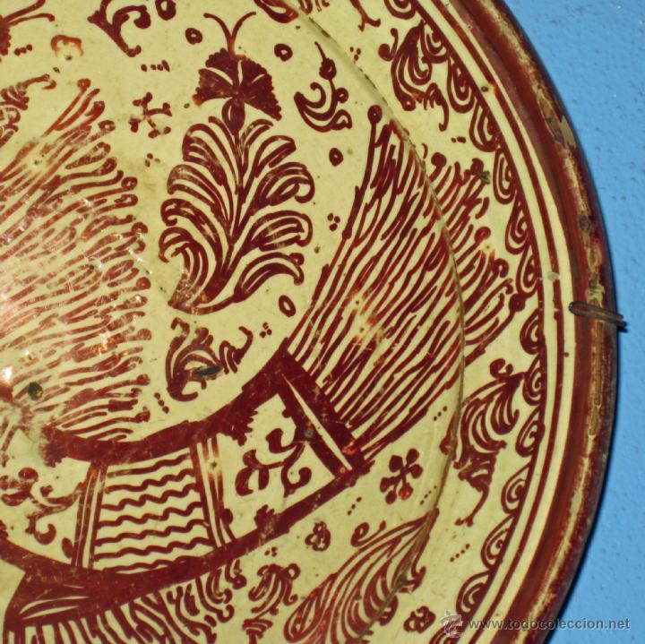 Antigüedades: GRAN PLATO ETAPA DE DECADENCIA DE REFLEJO METALICO DE MANISES SIGLO XVIII. MOTIVO EL PARDALOT - Foto 8 - 45623262