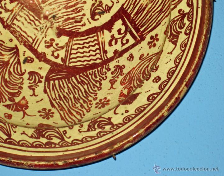 Antigüedades: GRAN PLATO ETAPA DE DECADENCIA DE REFLEJO METALICO DE MANISES SIGLO XVIII. MOTIVO EL PARDALOT - Foto 9 - 45623262