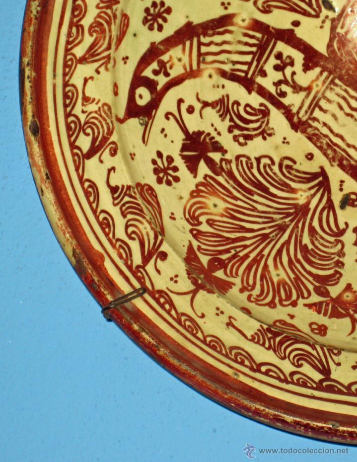 Antigüedades: GRAN PLATO ETAPA DE DECADENCIA DE REFLEJO METALICO DE MANISES SIGLO XVIII. MOTIVO EL PARDALOT - Foto 10 - 45623262
