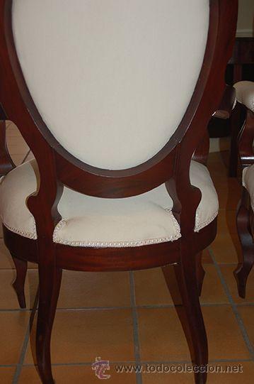 Antigüedades: Antigua Pareja de Sillones - Isabelinos - Madera de Caoba, Siglo XIX .Restaurados y tapizados - Foto 3 - 45627264