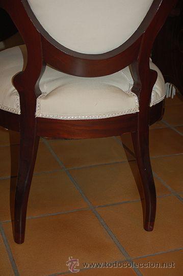 Antigüedades: Antigua Pareja de Sillones - Isabelinos - Madera de Caoba, Siglo XIX .Restaurados y tapizados - Foto 5 - 45627264