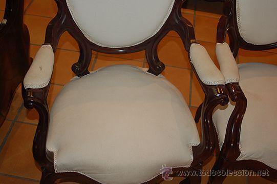 Antigüedades: Antigua Pareja de Sillones - Isabelinos - Madera de Caoba, Siglo XIX .Restaurados y tapizados - Foto 10 - 45627264