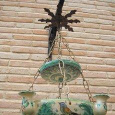 Antigüedades: LAMPARA ANTIGUA PARA VELAS EN CERAMICA DE PUENTE DEL ARZOBISPO ( TOLEDO ). Lote 45631001