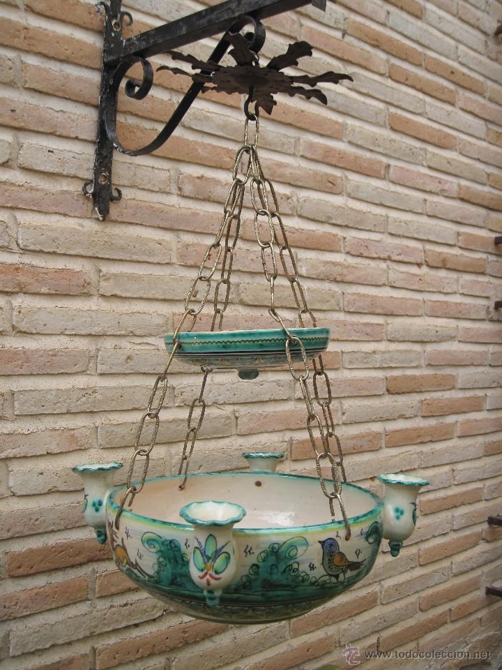 Antigüedades: LAMPARA ANTIGUA PARA VELAS EN CERAMICA DE PUENTE DEL ARZOBISPO ( TOLEDO ) - Foto 2 - 45631001