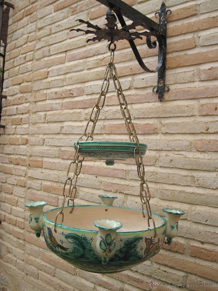 Antigüedades: LAMPARA ANTIGUA PARA VELAS EN CERAMICA DE PUENTE DEL ARZOBISPO ( TOLEDO ) - Foto 3 - 45631001