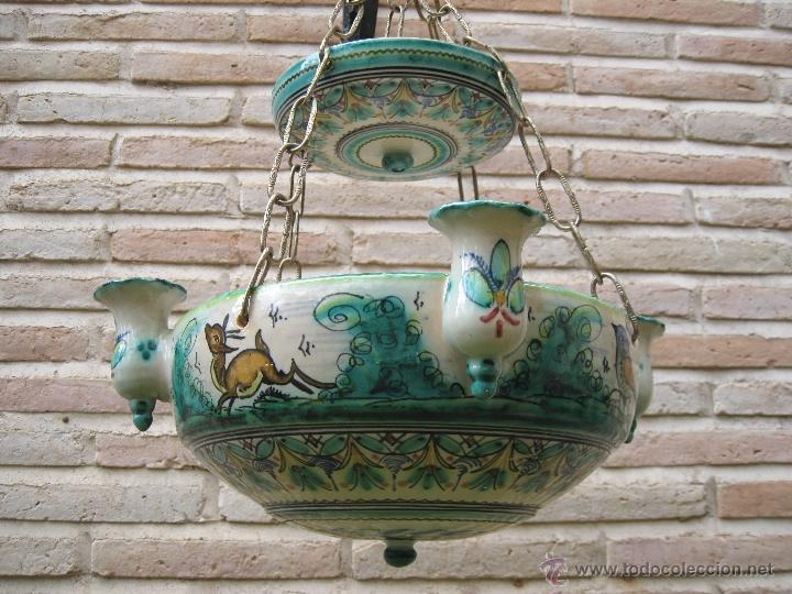 Antigüedades: LAMPARA ANTIGUA PARA VELAS EN CERAMICA DE PUENTE DEL ARZOBISPO ( TOLEDO ) - Foto 4 - 45631001