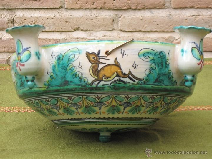 Antigüedades: LAMPARA ANTIGUA PARA VELAS EN CERAMICA DE PUENTE DEL ARZOBISPO ( TOLEDO ) - Foto 5 - 45631001
