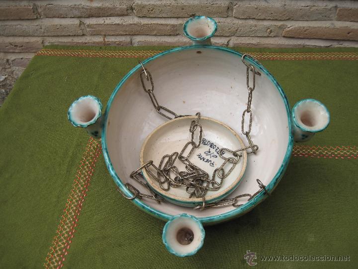 Antigüedades: LAMPARA ANTIGUA PARA VELAS EN CERAMICA DE PUENTE DEL ARZOBISPO ( TOLEDO ) - Foto 8 - 45631001