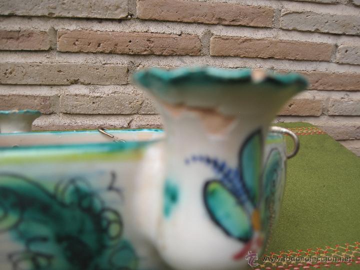 Antigüedades: LAMPARA ANTIGUA PARA VELAS EN CERAMICA DE PUENTE DEL ARZOBISPO ( TOLEDO ) - Foto 11 - 45631001