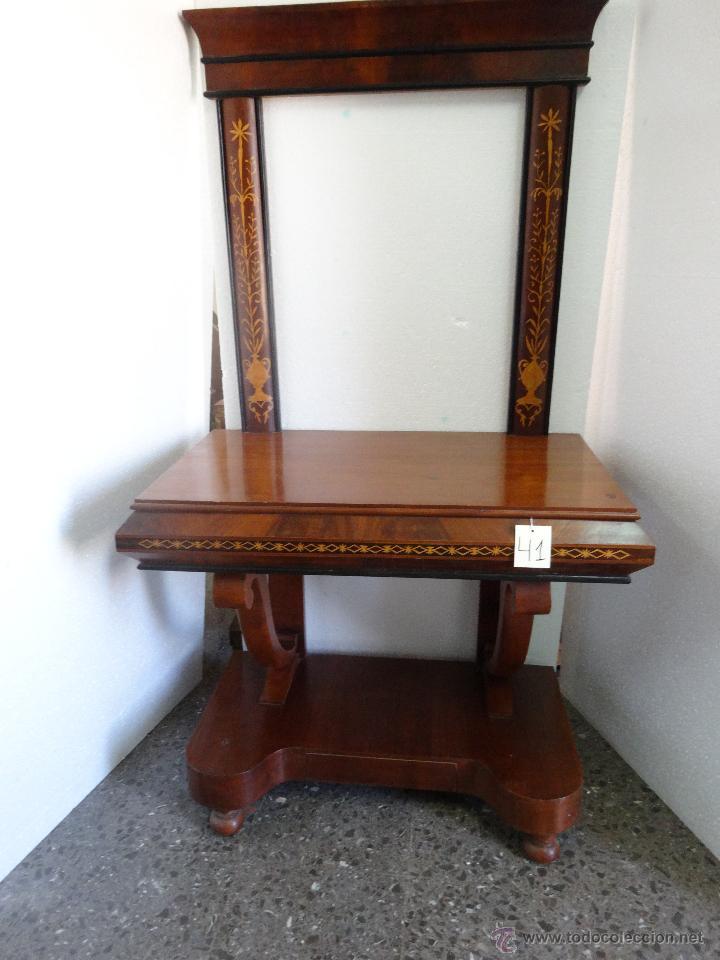 CONSOLA DE CAJÓN EN CINTURA Y MARCO PARA ESPEJO SIGLO XIX-41 (Antigüedades - Muebles Antiguos - Consolas Antiguas)