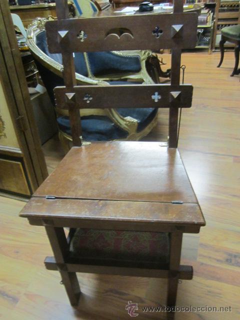 Antigua silla escalera de madera con pelda o comprar - Tapizado de sillas antiguas ...