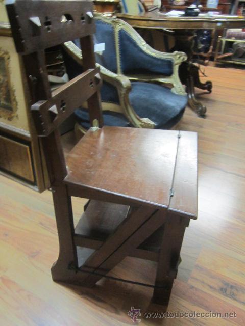 Antigua silla escalera de madera con pelda o comprar for Silla escalera de madera