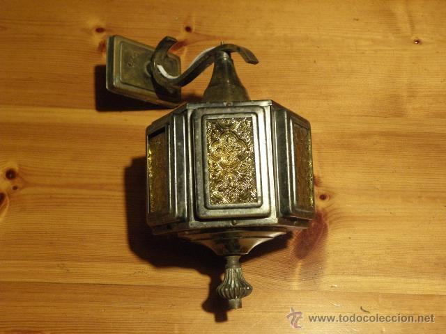 FAROL O APLIQUE ANTIGUO CON CRISTALES AMARILLOS EN RELIEVE (Antigüedades - Iluminación - Apliques Antiguos)