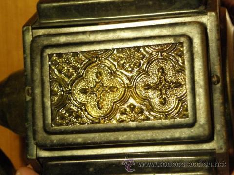 Antigüedades: Farol o aplique antiguo con cristales amarillos en relieve - Foto 2 - 45670889