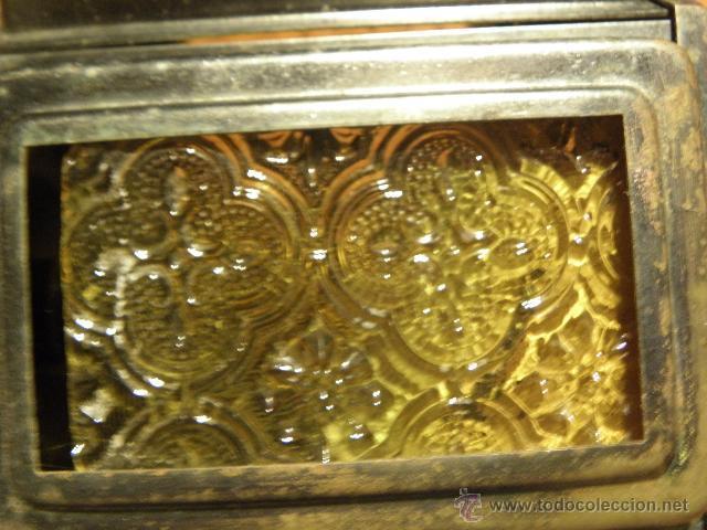 Antigüedades: Farol o aplique antiguo con cristales amarillos en relieve - Foto 3 - 45670889