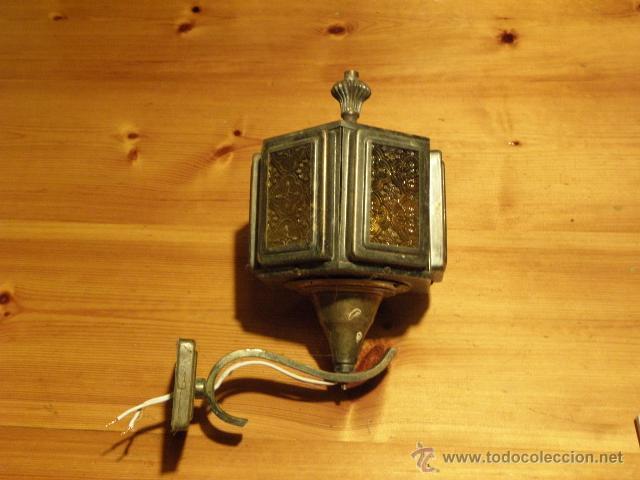 Antigüedades: Farol o aplique antiguo con cristales amarillos en relieve - Foto 6 - 45670889