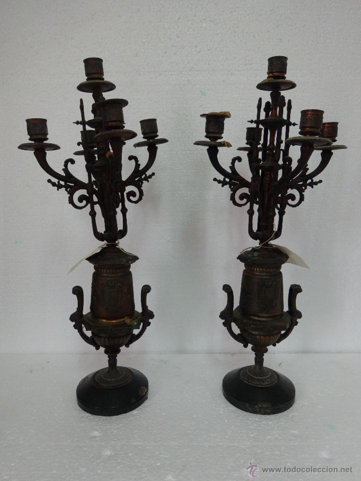 PAREJA DE CANDELABROS DE CINCO LUCES SIGLO XIX- 202 (Antigüedades - Iluminación - Candelabros Antiguos)