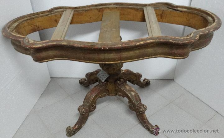 Mesa de centro en madera dorada estilo isabelin comprar for Mesas de centro antiguas