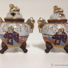 Antigüedades: PRECIOSA PAREJA DE INCENSARIOS JAPONESES. Lote 45684558