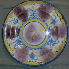 Antigüedades: PLATO DE CERÁMICA ESPONJADO, ANTIGUO SEGURAMENTE DE RIBESALBES. SIGLO XVIII O XIX. 29 CM.. Lote 45692378
