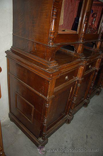 Antigüedades: Antigua Vitrina - Isabelina - 3 puertas - Madera de Nogal - S. XIX - Foto 11 - 45705433