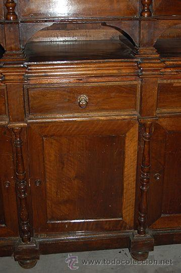 Antigüedades: Antigua Vitrina - Isabelina - 3 puertas - Madera de Nogal - S. XIX - Foto 16 - 45705433