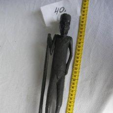 Antigüedades: ANTIGUA FIGURA ESCULTURA AFRICANA ETNICA EN MADERA . Lote 45720712